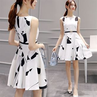 2016新款女装夏装韩版修身高腰连衣裙女无袖圆领白色小清新公主裙