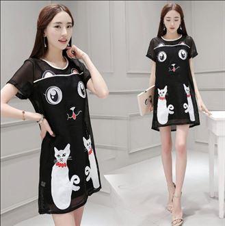 夏天韩版时尚女装圆领网纱可爱猫猫绣花短袖连衣裙 中腰显瘦中裙